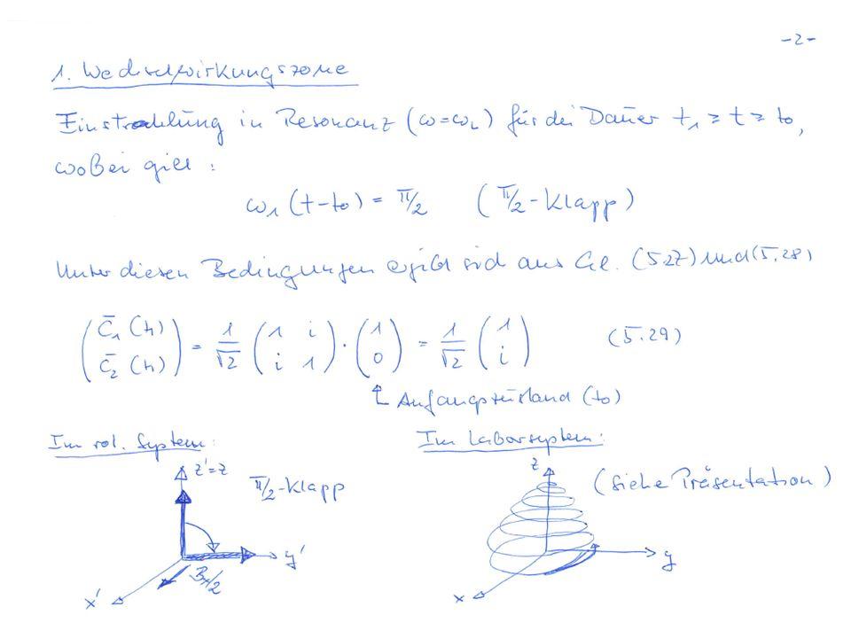 Ein in Richtung B ausgerichteter Kernspin Spitze des Spin- Vektors Einstrahlen eines resonanten HF-Pulses: …Auslenkung aus der Magnetfeldachse ( z-Achse ) :