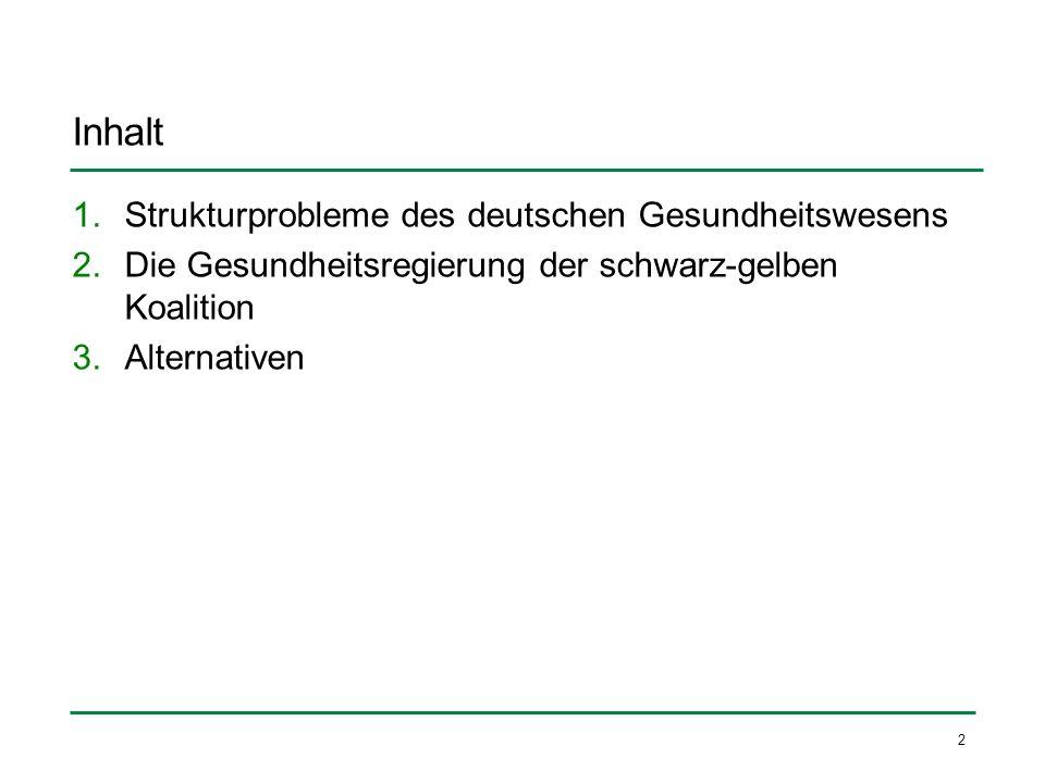 2 Inhalt 1.Strukturprobleme des deutschen Gesundheitswesens 2.Die Gesundheitsregierung der schwarz-gelben Koalition 3.Alternativen