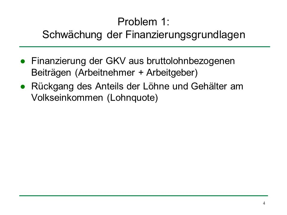 4 Problem 1: Schwächung der Finanzierungsgrundlagen Finanzierung der GKV aus bruttolohnbezogenen Beiträgen (Arbeitnehmer + Arbeitgeber) Rückgang des A