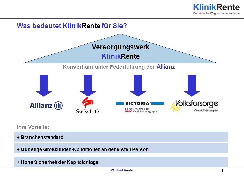 © KlinikRente 14 Was bedeutet KlinikRente für Sie? Ihre Vorteile: + Branchenstandard + Günstige Großkunden-Konditionen ab der ersten Person + Hohe Sic