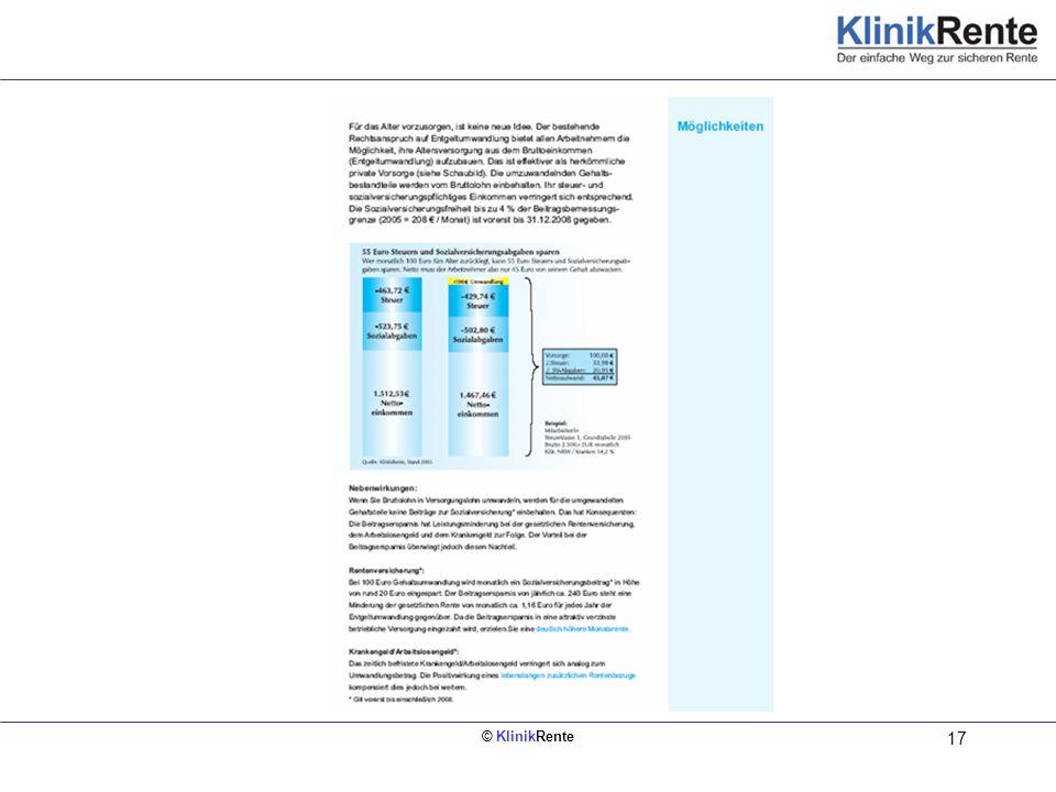 © KlinikRente 17 Auszug aus dem Arbeitnehmerfolder zur Information der Mitarbeiter