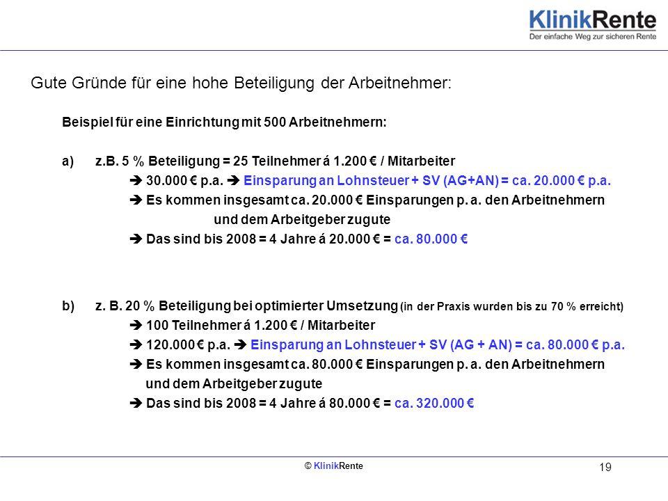 © KlinikRente 19 Innen links (Rückseite vom Deckblatt) Beispiel für eine Einrichtung mit 500 Arbeitnehmern: a)z.B. 5 % Beteiligung = 25 Teilnehmer á 1
