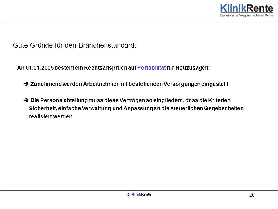© KlinikRente 26 Innen links (Rückseite vom Deckblatt) Ab 01.01.2005 besteht ein Rechtsanspruch auf Portabilität für Neuzusagen: Zunehmend werden Arbe