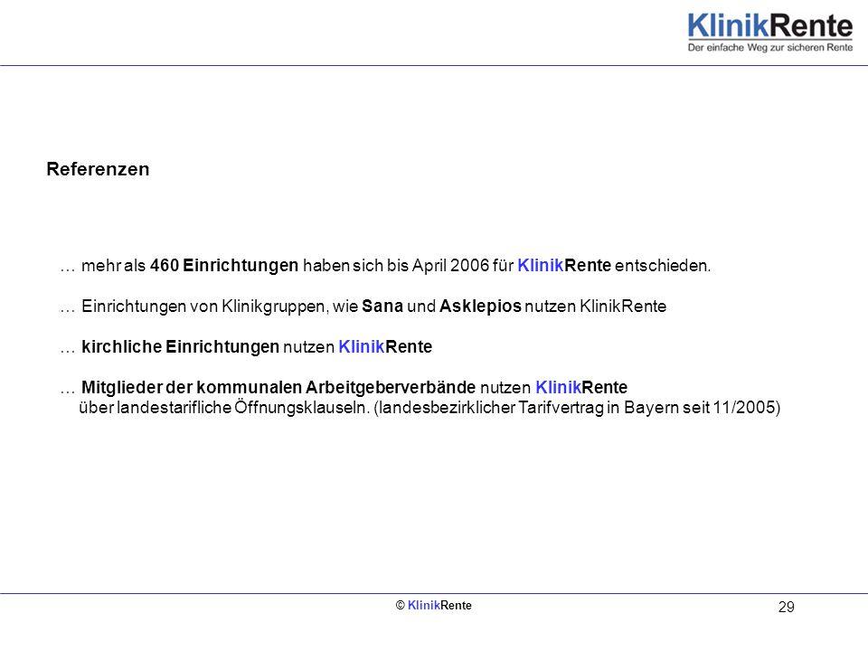 © KlinikRente 29 Referenzen Innen links (Rückseite vom Deckblatt) … mehr als 460 Einrichtungen haben sich bis April 2006 für KlinikRente entschieden.