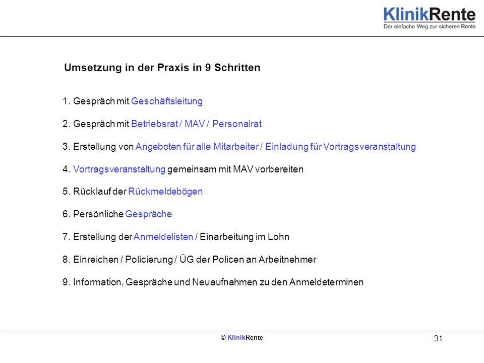 © KlinikRente 31 Umsetzung in der Praxis in 9 Schritten Innen links (Rückseite vom Deckblatt) 1. Gespräch mit Geschäftsleitung 2. Gespräch mit Betrieb