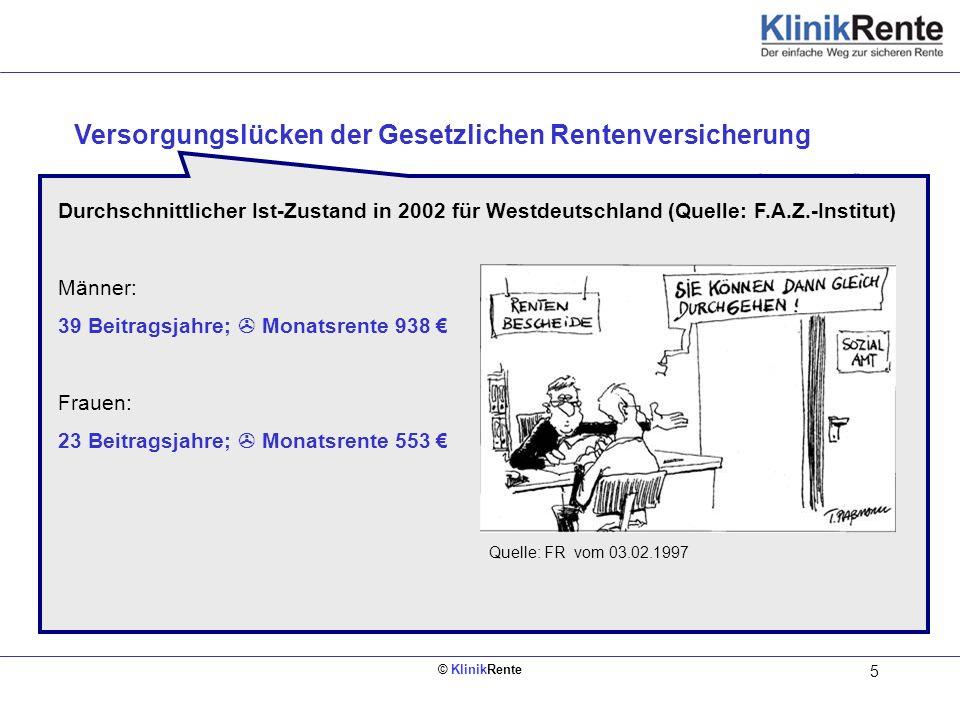 © KlinikRente 5 Bruttoeinkommen mtl. Nettoeinkommen mtl. Was die gesetzliche Rentenversicherung leistet: Regelsaltersrente ab 65 (39% v.Brutto, 45 Ber