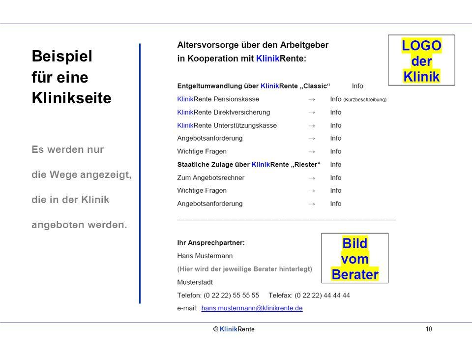 © KlinikRente10 Beispiel für eine Klinikseite Es werden nur die Wege angezeigt, die in der Klinik angeboten werden.