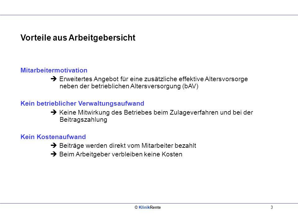 © KlinikRente4 Vorteile aus Arbeitnehmersicht I Hohe Rentabilität Staatliche Förderung über Zulagen und ggf.