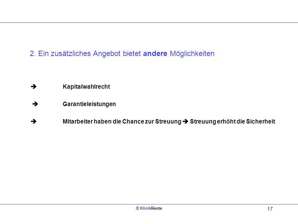 © KlinikRente 16 § 3 Nr. 63 EStG steuer- und sozialabgabenfrei bis maximal 4 % der BBG 2006 = 2.520 1.200 = 4 % Arbeitgeberbeitrag 30.000 = Jahreseink