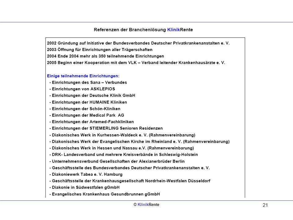 © KlinikRente 20 Innen links (Rückseite vom Deckblatt) 4. Altersgrenze 67 Höhere Abschläge für Arbeitnehmer, die vorzeitig in Rente wollen (sollen). 5