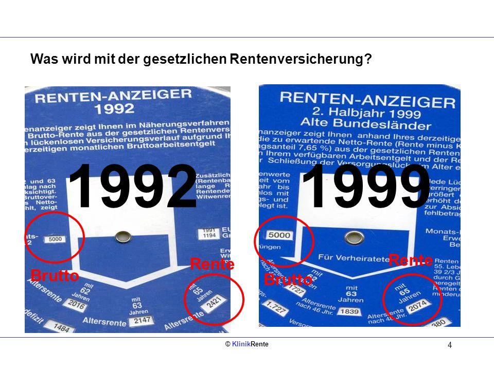 © KlinikRente 4 Was wird mit der gesetzlichen Rentenversicherung? 19921999 Brutto Rente