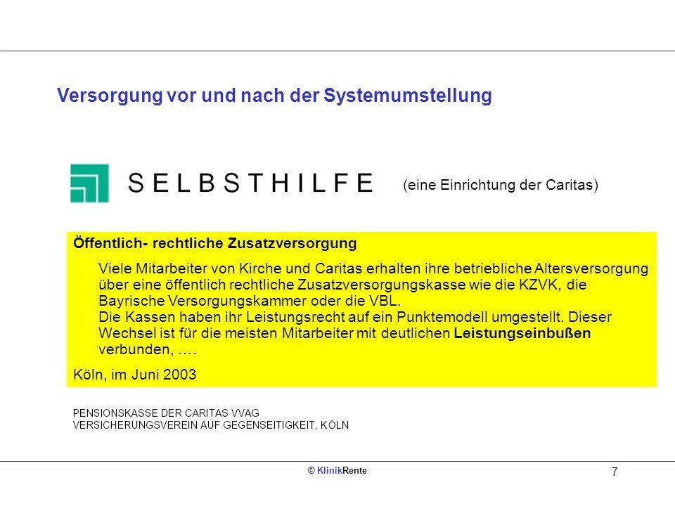 © KlinikRente 6 Einführung des Punktemodells ab 01.01.2002 Freiwillige Entgeltumwandlung Öffentliche / kirchliche ZVK GRV altneu