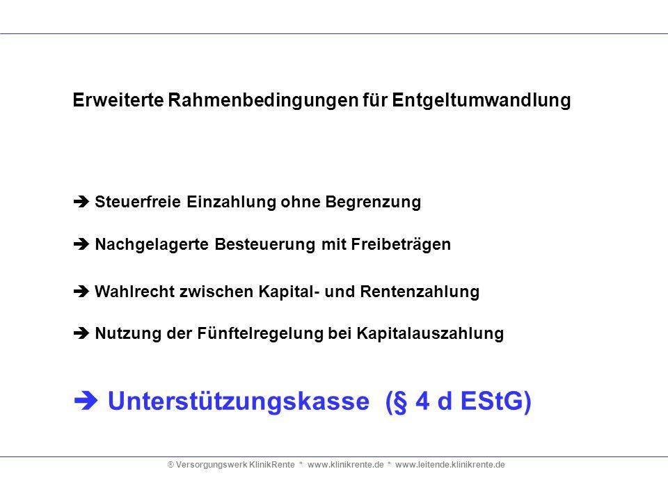 ® Versorgungswerk KlinikRente * www.klinikrente.de * www.leitende.klinikrente.de Erweiterte Rahmenbedingungen für Entgeltumwandlung Steuerfreie Einzah