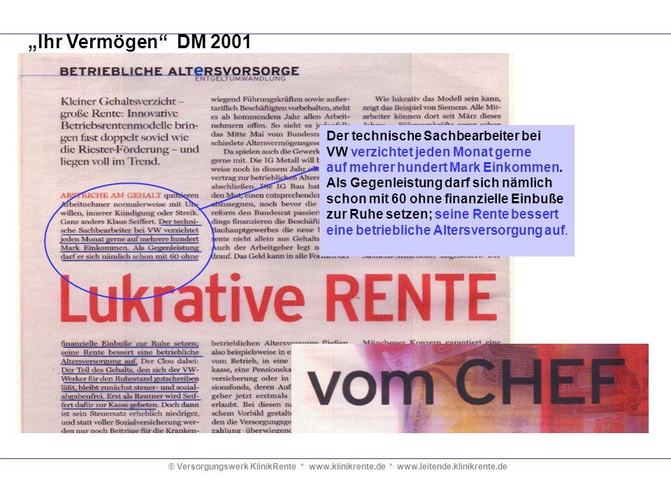 ® Versorgungswerk KlinikRente * www.klinikrente.de * www.leitende.klinikrente.de Ihr Vermögen DM 2001 Der technische Sachbearbeiter bei VW verzichtet
