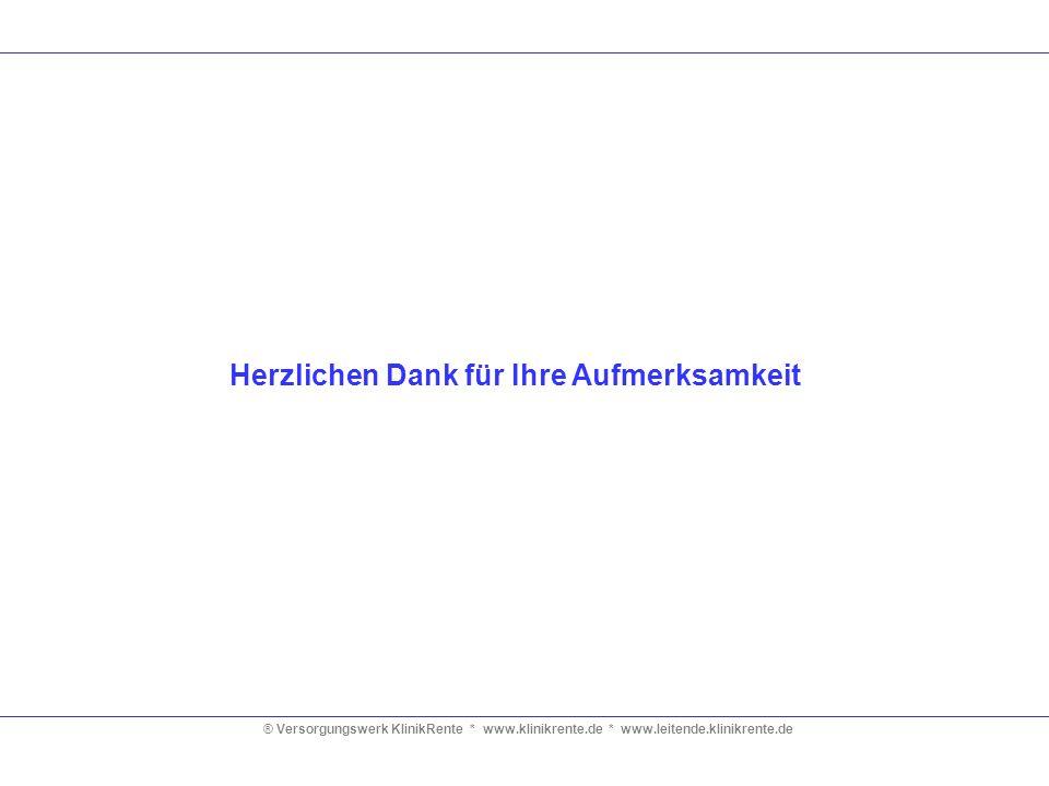 ® Versorgungswerk KlinikRente * www.klinikrente.de * www.leitende.klinikrente.de Herzlichen Dank für Ihre Aufmerksamkeit
