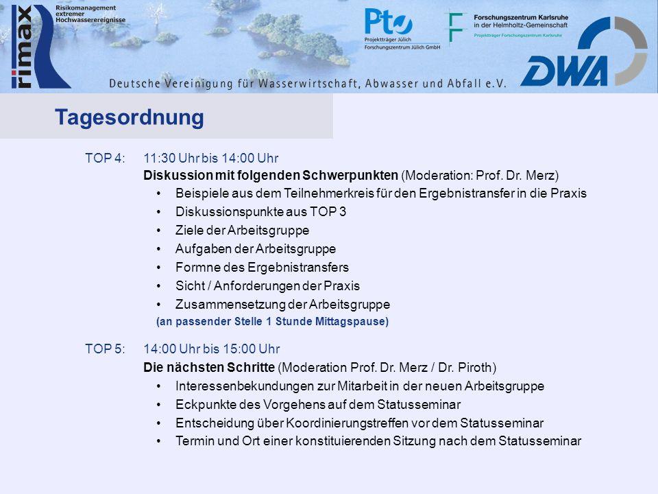 TOP 4:11:30 Uhr bis 14:00 Uhr Diskussion mit folgenden Schwerpunkten (Moderation: Prof. Dr. Merz) Beispiele aus dem Teilnehmerkreis für den Ergebnistr