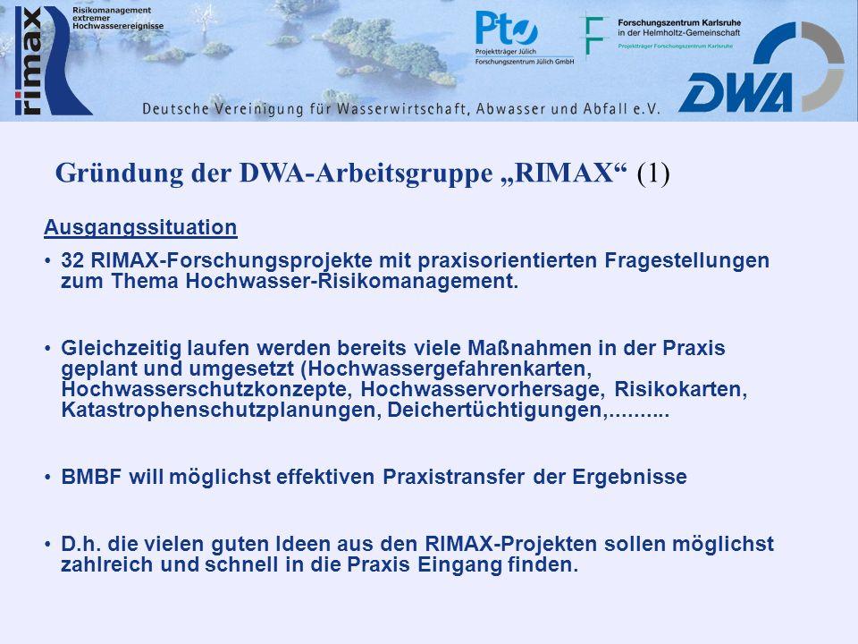 Gründung der DWA-Arbeitsgruppe RIMAX (1) Ausgangssituation 32 RIMAX-Forschungsprojekte mit praxisorientierten Fragestellungen zum Thema Hochwasser-Ris
