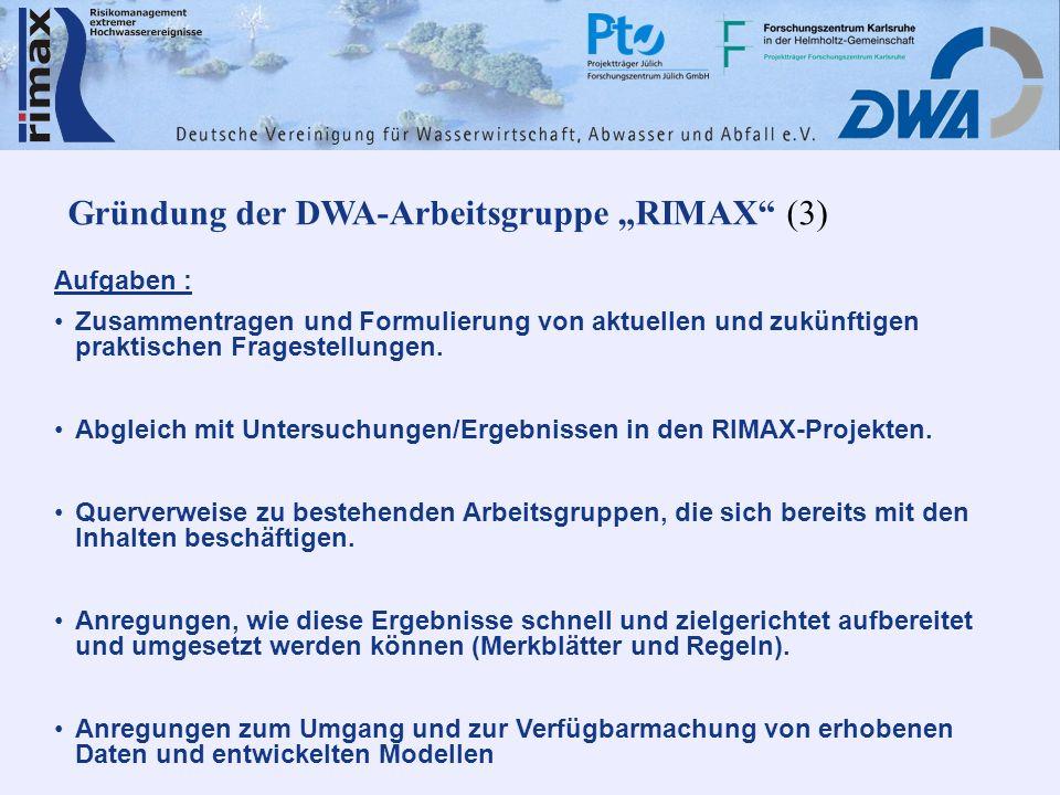 Gründung der DWA-Arbeitsgruppe RIMAX (3) Aufgaben : Zusammentragen und Formulierung von aktuellen und zukünftigen praktischen Fragestellungen. Abgleic