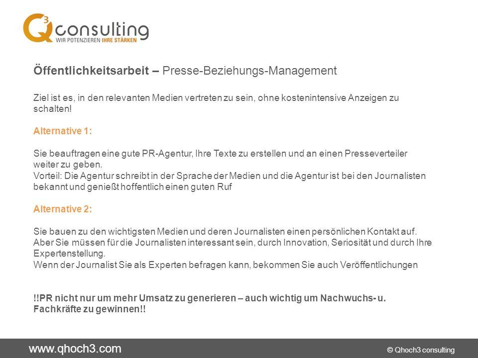 www.qhoch3.com © Qhoch3 consulting Öffentlichkeitsarbeit – Presse-Beziehungs-Management Ziel ist es, in den relevanten Medien vertreten zu sein, ohne kostenintensive Anzeigen zu schalten.
