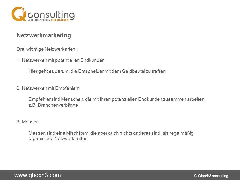 www.qhoch3.com © Qhoch3 consulting Onlinemarketing Landing Page Die Landing-Page ist eine abgespeckte Website, auf der der Besucher alle Verkaufsargumente auf einer Seite findet.