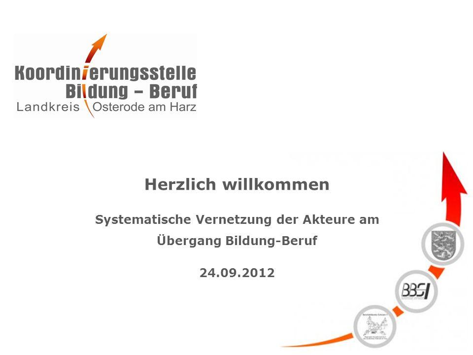 Herzlich willkommen Systematische Vernetzung der Akteure am Übergang Bildung-Beruf 24.09.2012