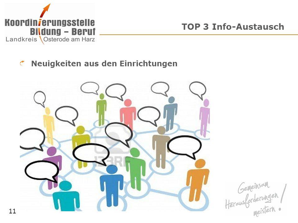 TOP 3 Info-Austausch Neuigkeiten aus den Einrichtungen 11