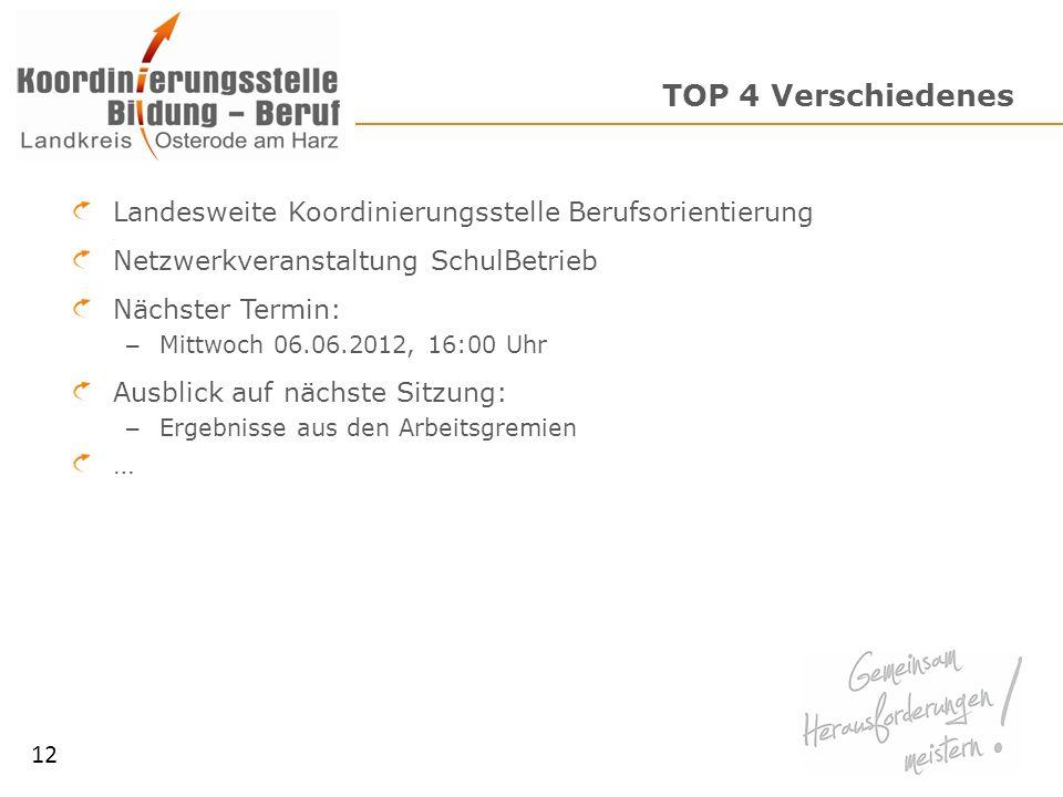 TOP 4 Verschiedenes Landesweite Koordinierungsstelle Berufsorientierung Netzwerkveranstaltung SchulBetrieb Nächster Termin: – Mittwoch 06.06.2012, 16: