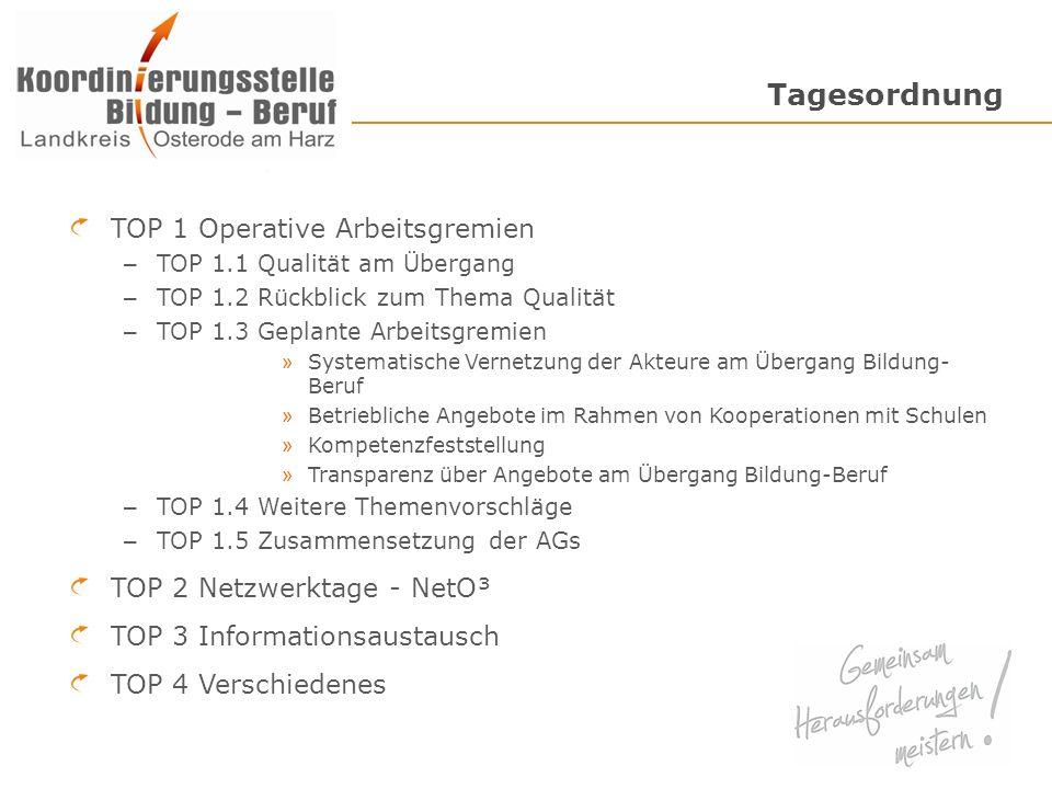 Tagesordnung TOP 1 Operative Arbeitsgremien – TOP 1.1 Qualität am Übergang – TOP 1.2 Rückblick zum Thema Qualität – TOP 1.3 Geplante Arbeitsgremien »
