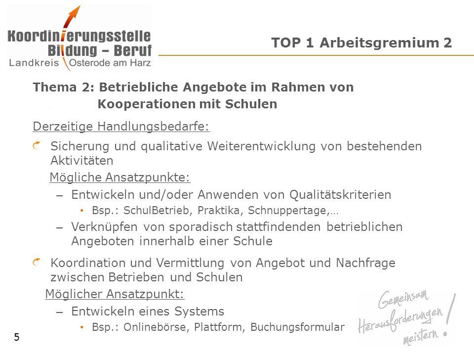 TOP 1 Arbeitsgremium 2 Thema 2: Betriebliche Angebote im Rahmen von Kooperationen mit Schulen Derzeitige Handlungsbedarfe: Sicherung und qualitative W