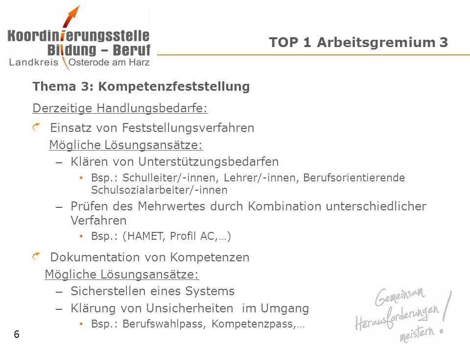 TOP 1 Arbeitsgremium 3 Thema 3: Kompetenzfeststellung Derzeitige Handlungsbedarfe: Einsatz von Feststellungsverfahren Mögliche Lösungsansätze: – Kläre
