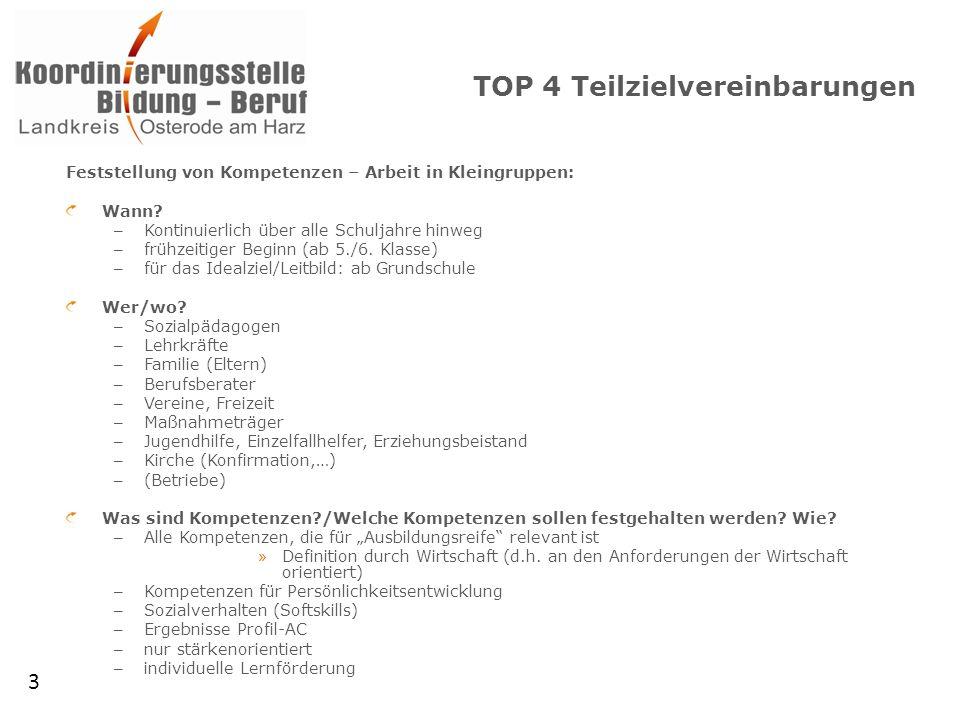 TOP 4 Teilzielvereinbarungen Feststellung von Kompetenzen – Arbeit in Kleingruppen: Wann.