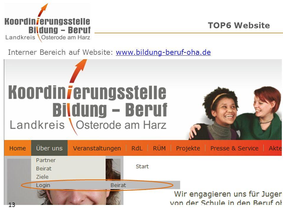 TOP6 Website Interner Bereich auf Website: www.bildung-beruf-oha.dewww.bildung-beruf-oha.de 13