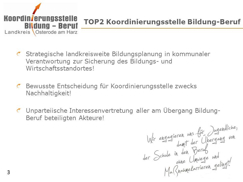 TOP2 Koordinierungsstelle Bildung-Beruf Strategische landkreisweite Bildungsplanung in kommunaler Verantwortung zur Sicherung des Bildungs- und Wirtsc