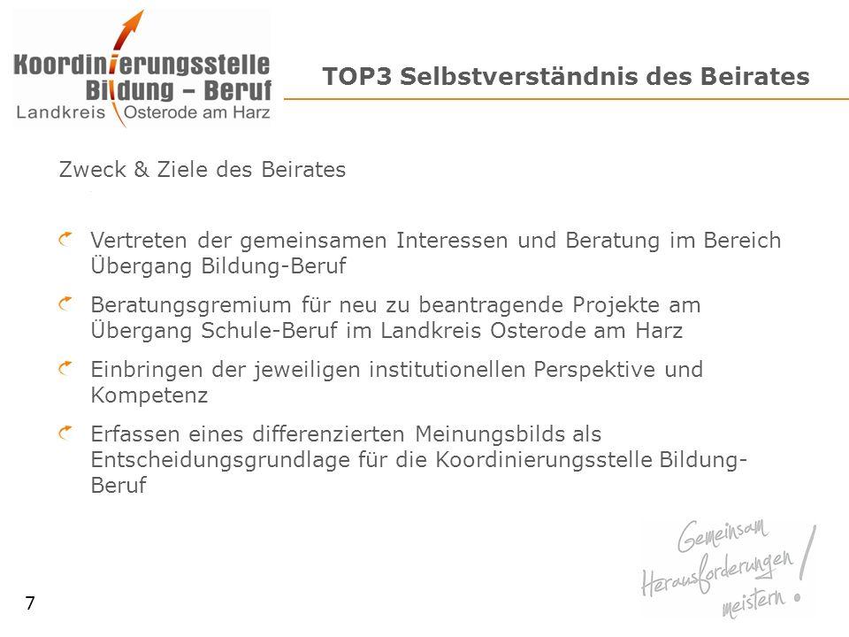 TOP3 Selbstverständnis des Beirates Zweck & Ziele des Beirates Vertreten der gemeinsamen Interessen und Beratung im Bereich Übergang Bildung-Beruf Ber