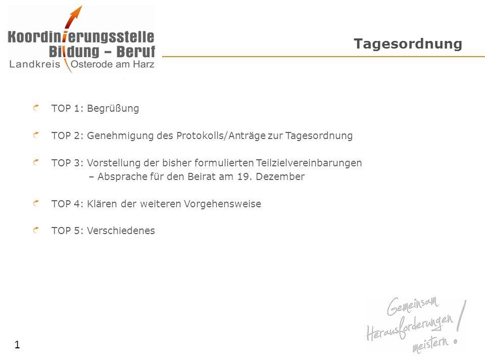 Tagesordnung TOP 1: Begrüßung TOP 2: Genehmigung des Protokolls/Anträge zur Tagesordnung TOP 3: Vorstellung der bisher formulierten Teilzielvereinbarungen – Absprache für den Beirat am 19.