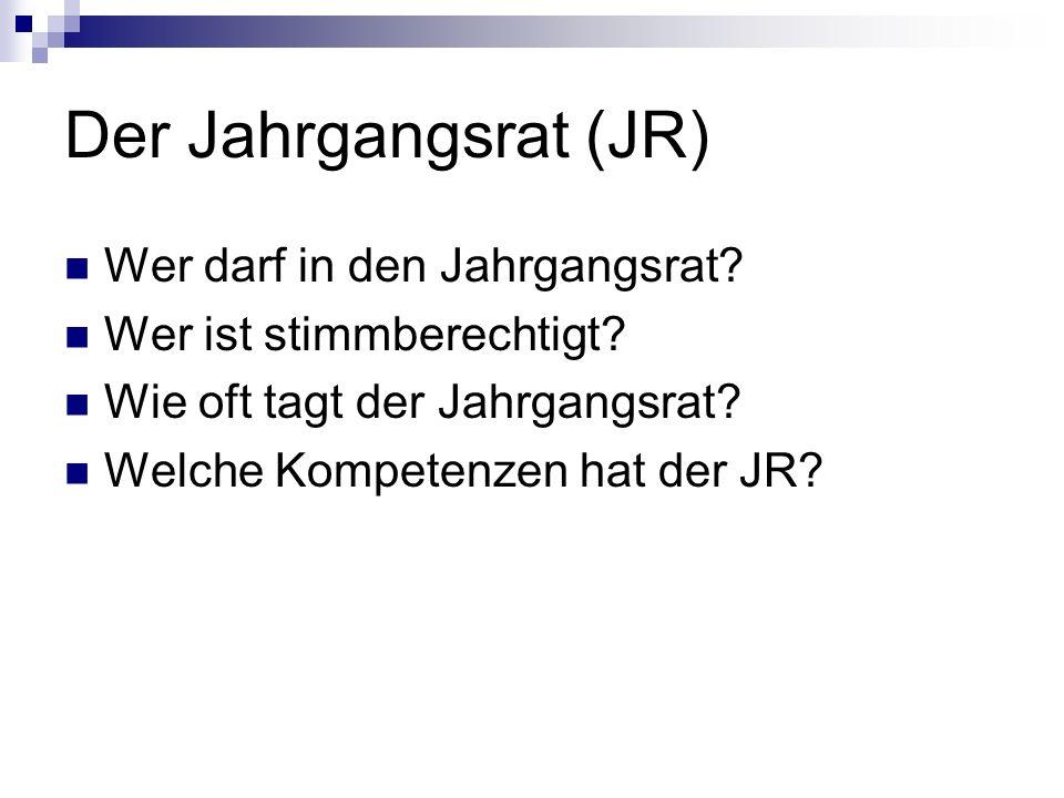Der Jahrgangsrat (JR) §3.1Mitglieder des Jahrgangsrates sind automatisch die zwei Jahrgangssprecher eines jeden Jahrgangs und alle Schülervertreter.
