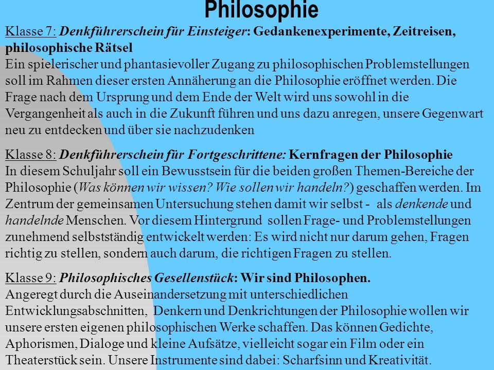 Philosophie Klasse 7: Denkführerschein für Einsteiger: Gedankenexperimente, Zeitreisen, philosophische Rätsel Ein spielerischer und phantasievoller Zu