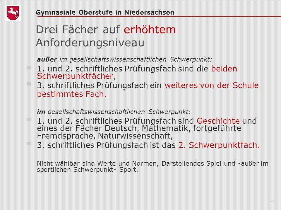 Gymnasiale Oberstufe in Niedersachsen 4 Drei Fächer auf erhöhtem Anforderungsniveau außer im gesellschaftswissenschaftlichen Schwerpunkt: 1.