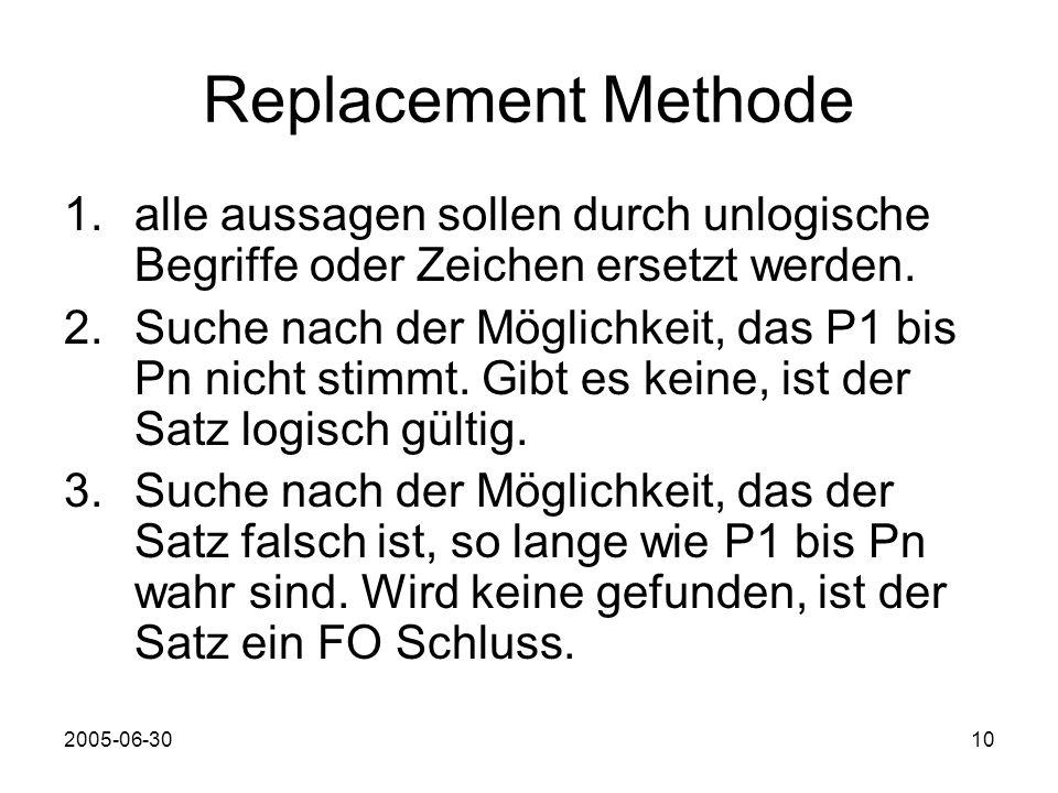 2005-06-3010 Replacement Methode 1.alle aussagen sollen durch unlogische Begriffe oder Zeichen ersetzt werden.