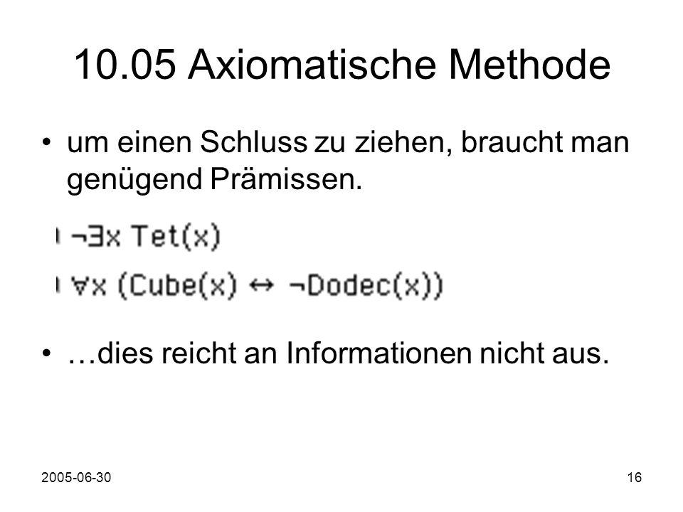 2005-06-3016 10.05 Axiomatische Methode um einen Schluss zu ziehen, braucht man genügend Prämissen.