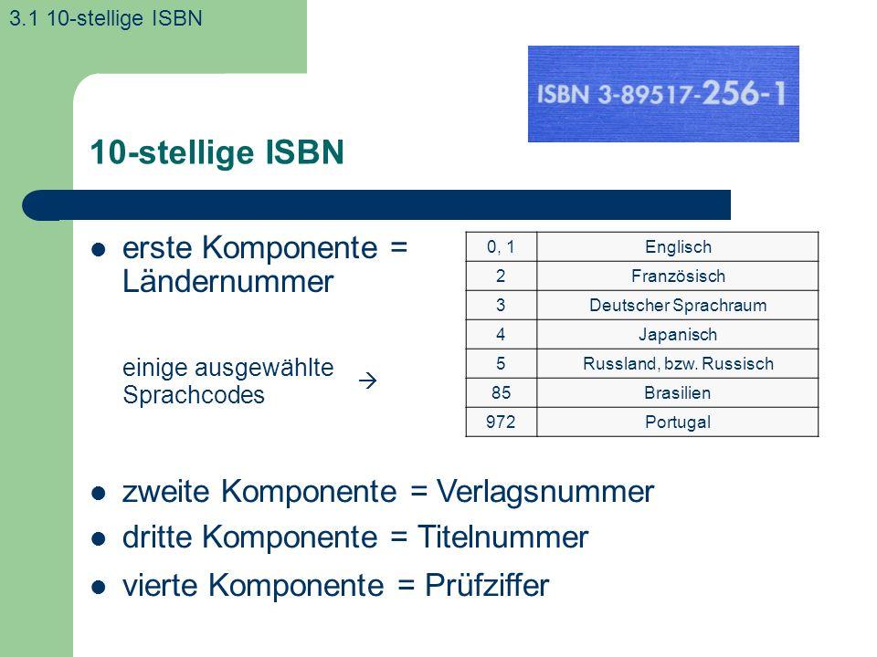 10-stellige ISBN erste Komponente = Ländernummer einige ausgewählte Sprachcodes 3.1 10-stellige ISBN 0, 1Englisch 2Französisch 3Deutscher Sprachraum 4Japanisch 5Russland, bzw.