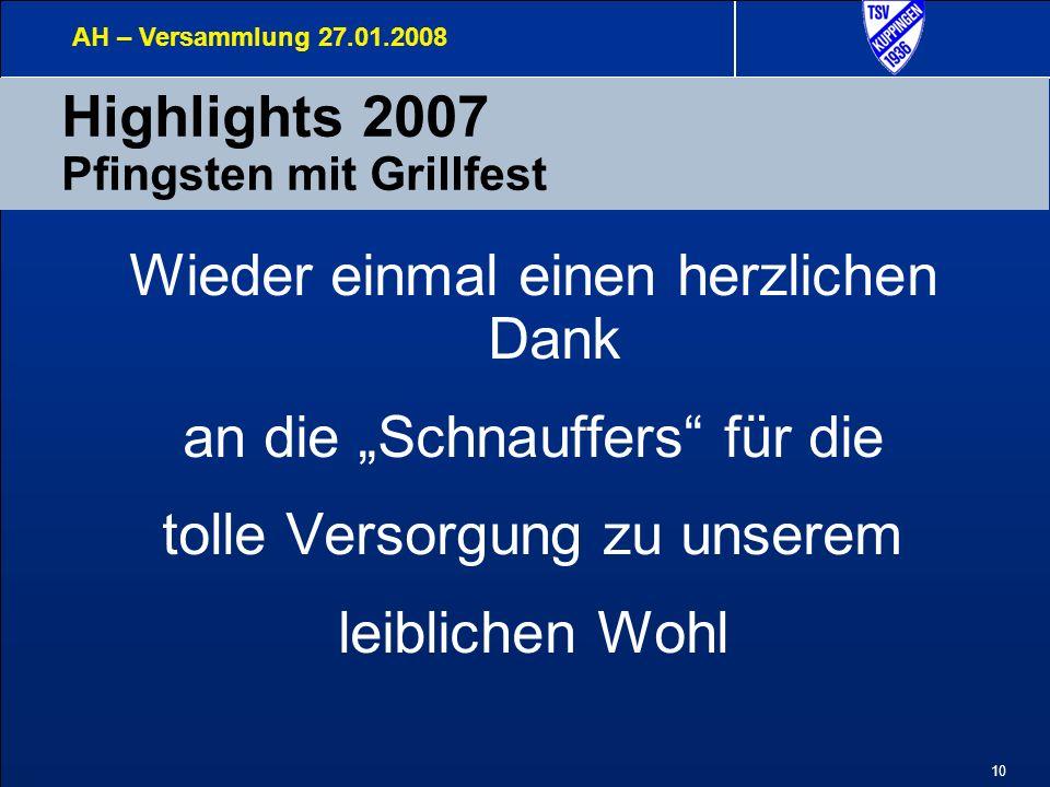 10 Highlights 2007 Pfingsten mit Grillfest AH – Versammlung 27.01.2008 Wieder einmal einen herzlichen Dank an die Schnauffers für die tolle Versorgung zu unserem leiblichen Wohl