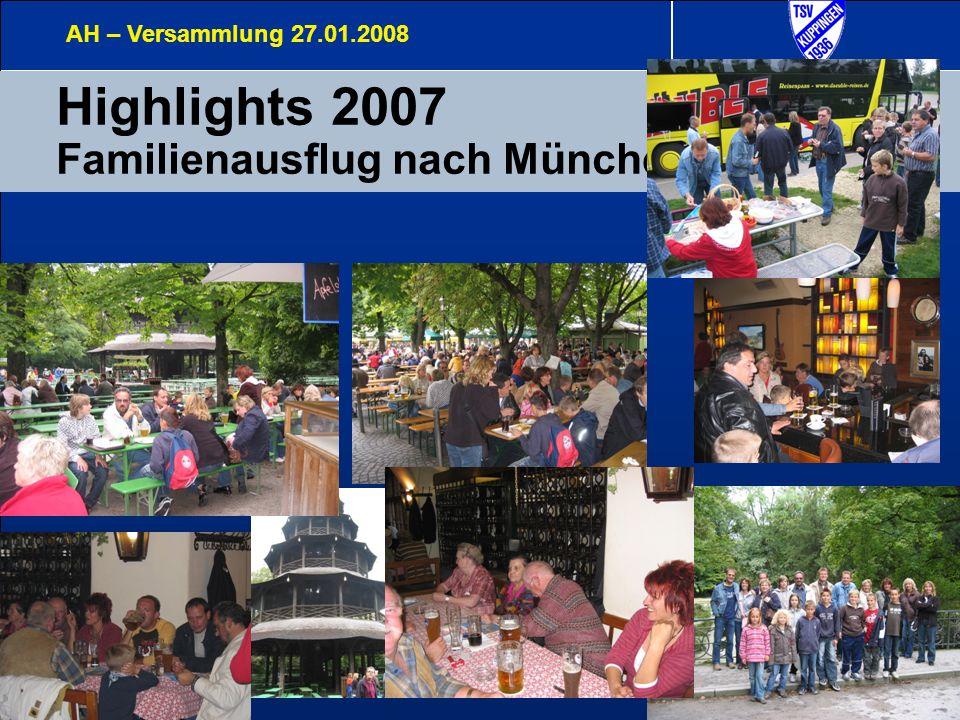 11 Highlights 2007 Familienausflug nach München AH – Versammlung 27.01.2008