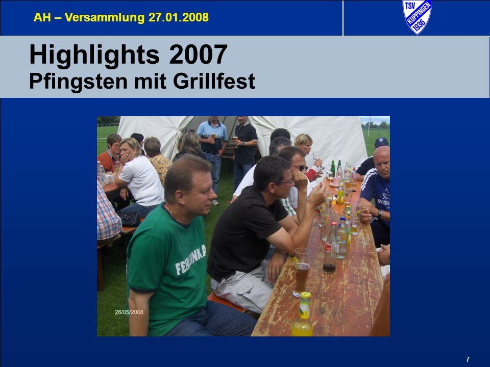 7 Highlights 2007 Pfingsten mit Grillfest AH – Versammlung 27.01.2008