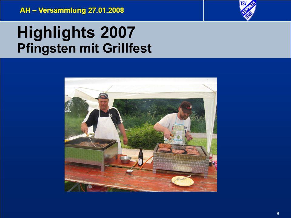 9 Highlights 2007 Pfingsten mit Grillfest AH – Versammlung 27.01.2008