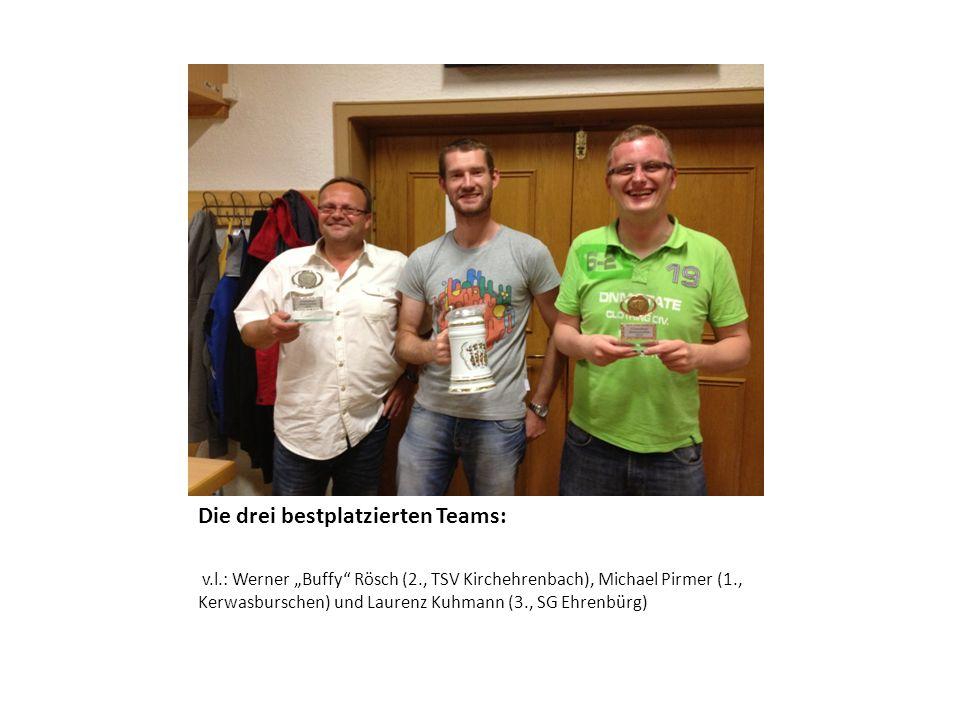 Die drei bestplatzierten Teams: v.l.: Werner Buffy Rösch (2., TSV Kirchehrenbach), Michael Pirmer (1., Kerwasburschen) und Laurenz Kuhmann (3., SG Ehr