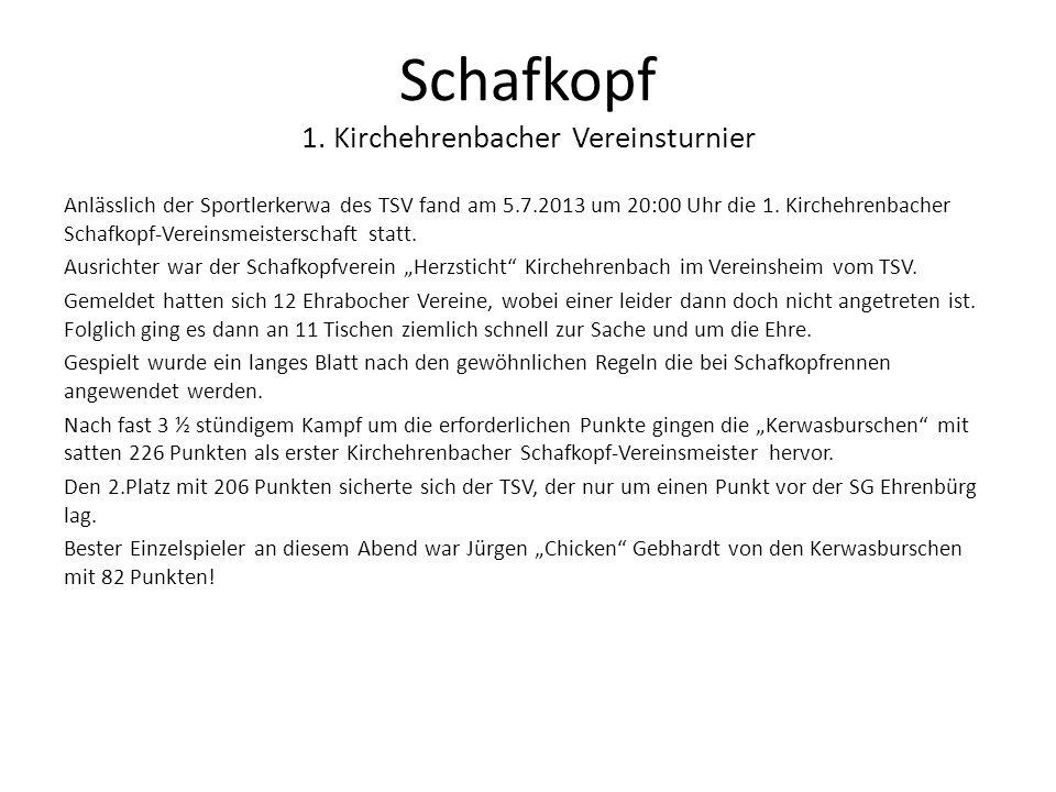 Schafkopf 1. Kirchehrenbacher Vereinsturnier Anlässlich der Sportlerkerwa des TSV fand am 5.7.2013 um 20:00 Uhr die 1. Kirchehrenbacher Schafkopf-Vere