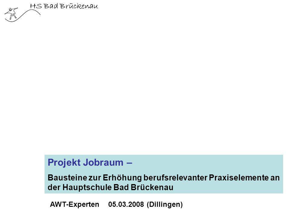 HS Bad Brückenau Projekt Jobraum – Bausteine zur Erhöhung berufsrelevanter Praxiselemente an der Hauptschule Bad Brückenau AWT-Experten 05.03.2008 (Di