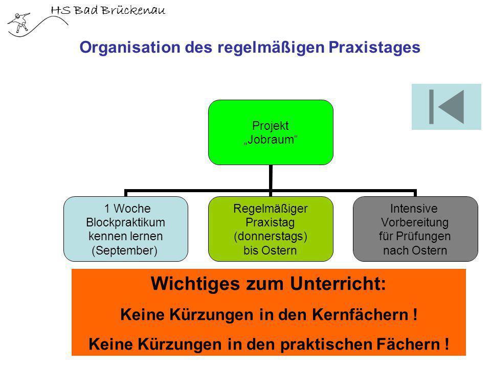 HS Bad Brückenau Organisation des regelmäßigen Praxistages Projekt Jobraum 1 Woche Blockpraktikum kennen lernen (September) Regelmäßiger Praxistag (do
