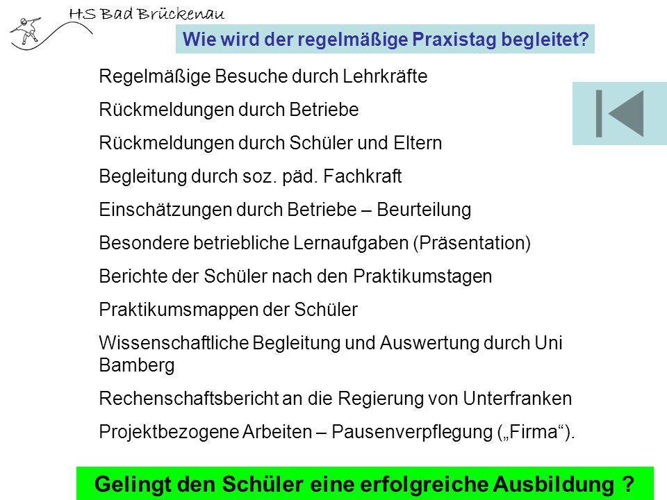 HS Bad Brückenau Wie wird der regelmäßige Praxistag begleitet? Regelmäßige Besuche durch Lehrkräfte Rückmeldungen durch Betriebe Rückmeldungen durch S
